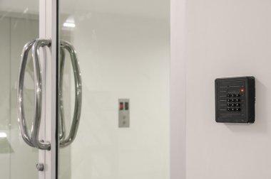 Glass door with keypad