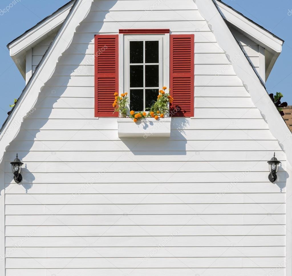 Rote Fenster Dekoriert Mit Blumenkasten Am Weißen Haus U2014 Stockfoto