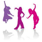 Fotografia Sagome di ragazze che ballano la danza hip-hop
