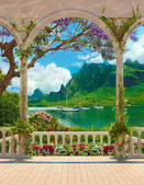 Fotografie Terasa s výhledem na moře a jachty balustrádou