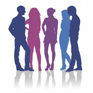 Detailed silhouettes of teenagers talking to each other stock vector