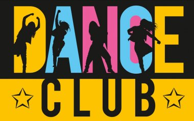 Girls dancing modern dance styles inside lettering dance club