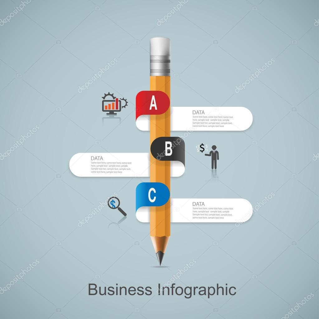 infographic template with pencil ribbon banner stock vector