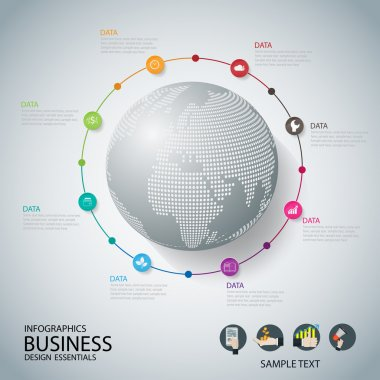 World map with pointer marks communication concept business . ve