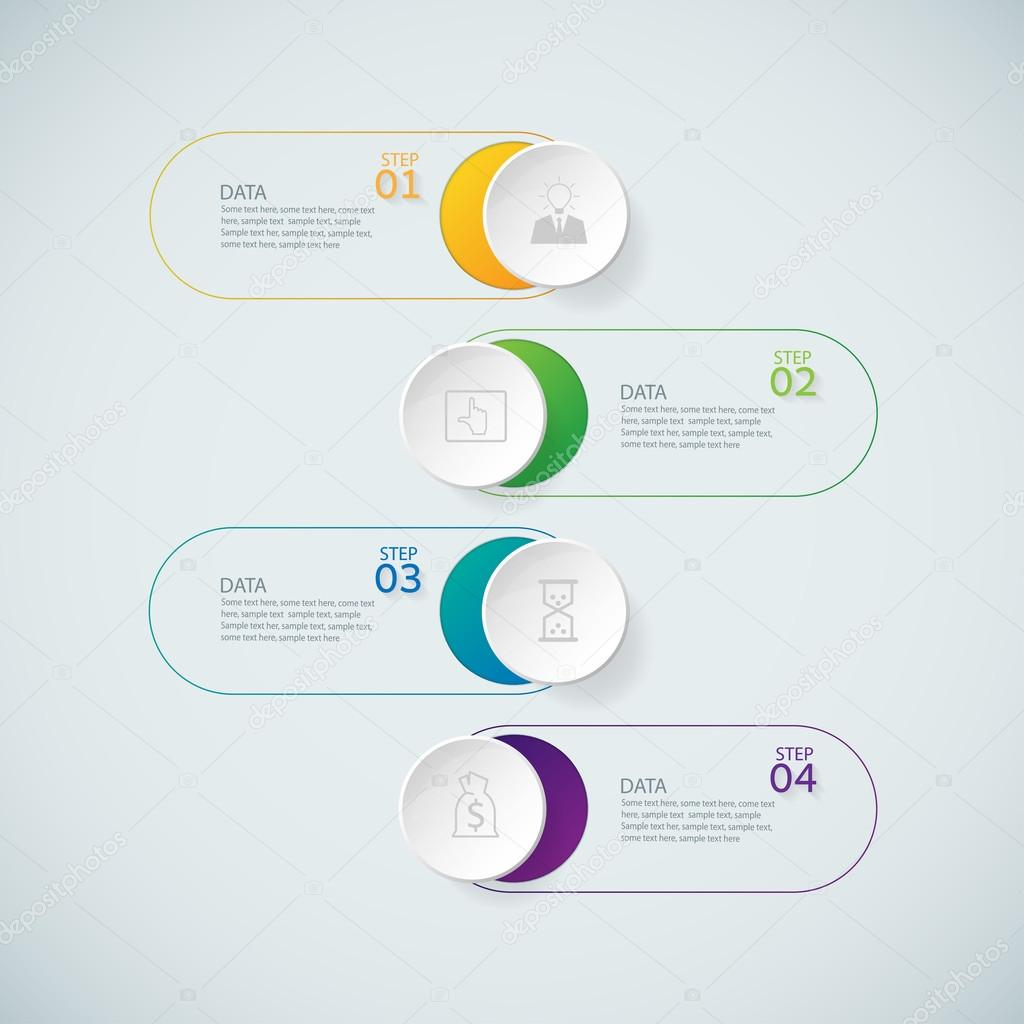 Infographic design template and marketing icons on the grey back