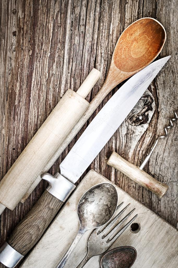 Vintage Kitchen Utensils For Cooking U2014 Stock Photo
