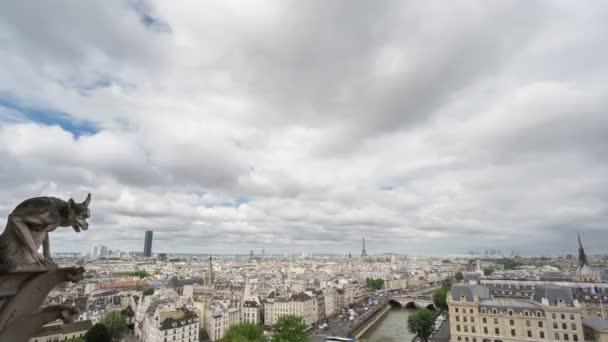 Paris skyline with gargoyle, Eiffel Tower, Paris, 4k Time Lapse