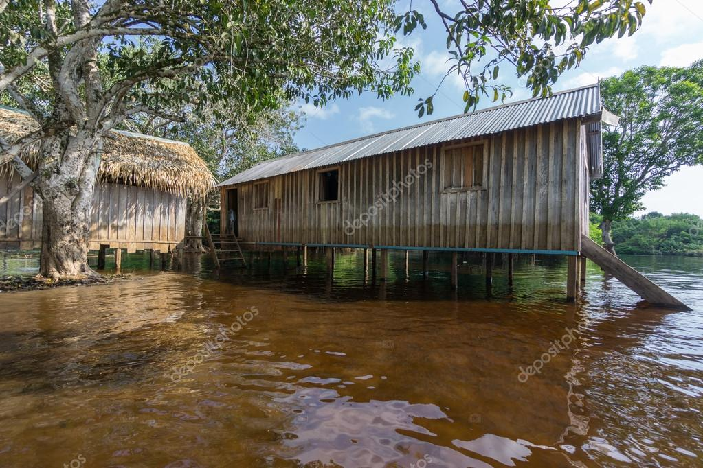 Charming Wide Angle View Of Wooden House Built In Amazon Rainforest Over Black  River, Brazil U2014 Photo By Saaaaa