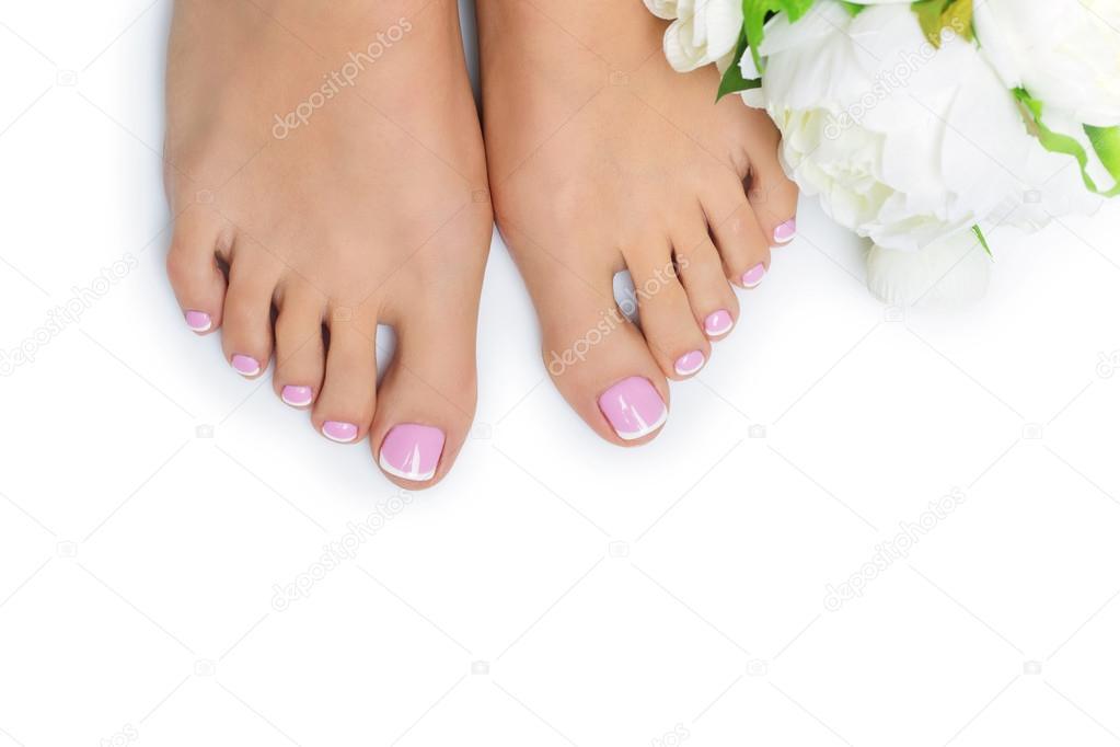 Piedi della donna con pedicure francese foto stock for Piani domestici di 2000 piedi quadrati
