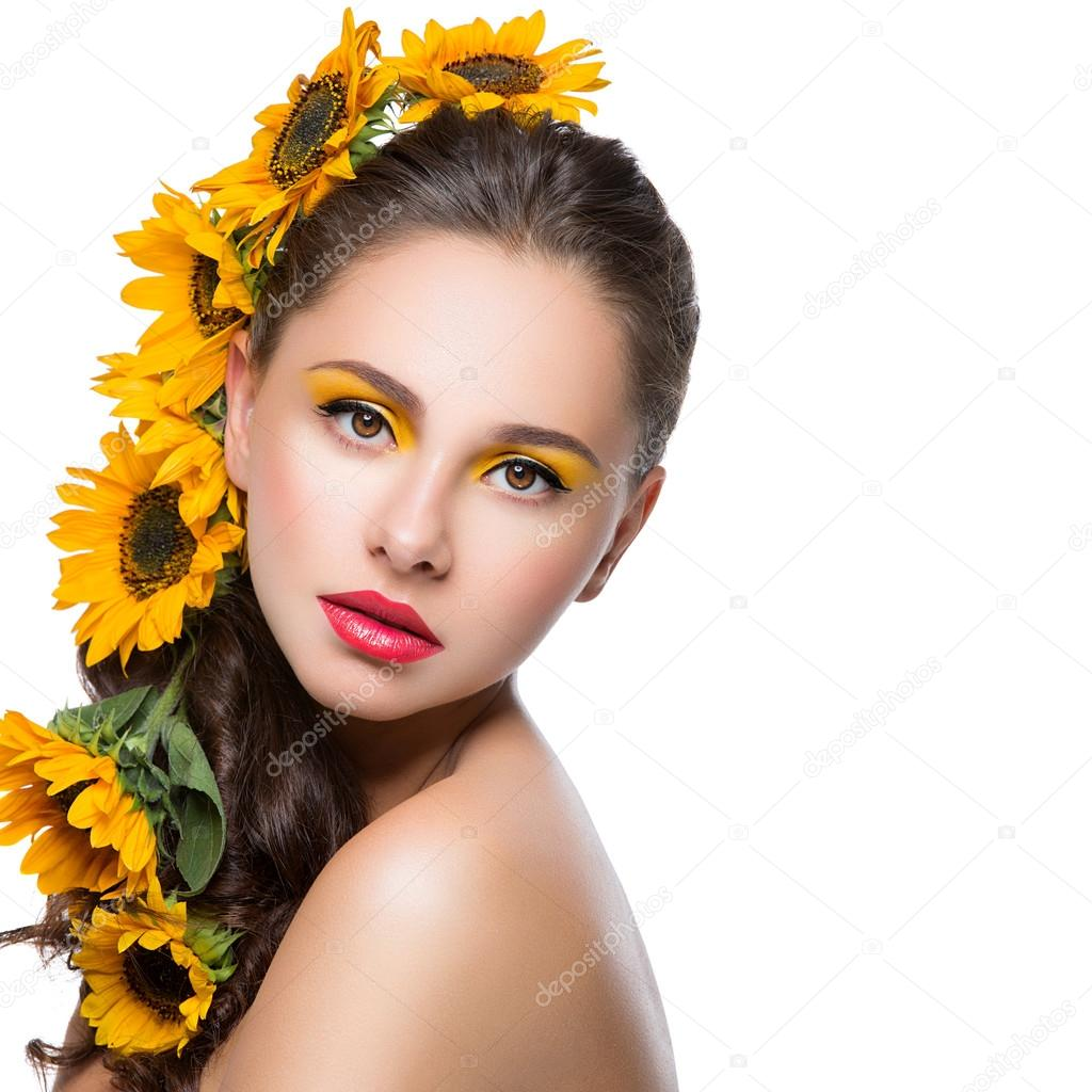 Beautiful Girl With Flowers In Hair Stock Photo Svetography