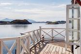 Mostra su fiordi scandinavi da terrazza