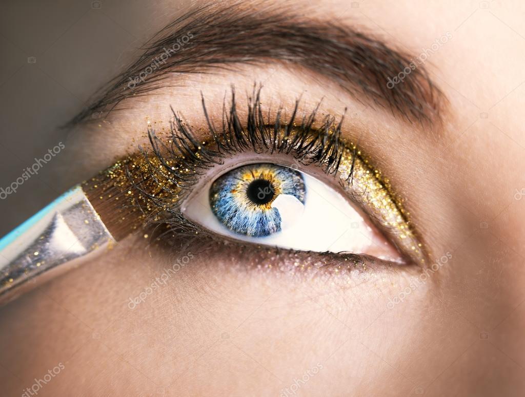 Wonderbaarlijk Oog make-up. Mooie ogen Glitter Make-up. Vakantie make-up detail YM-22