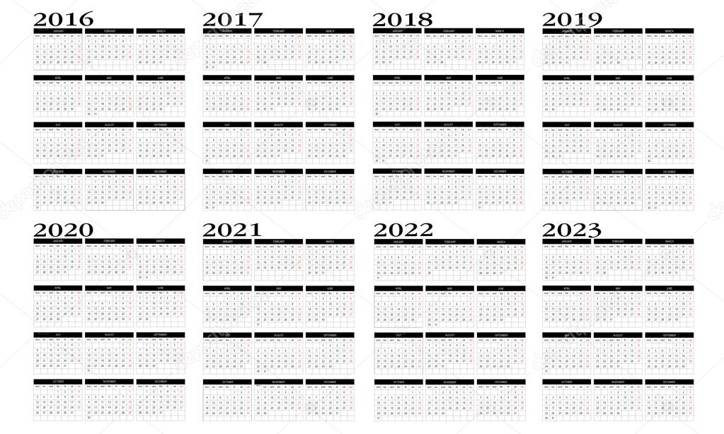 2016 2022 2023 Calendar.Calendar 2016 To 2023 Vector Image By C Changered Vector Stock 80854600