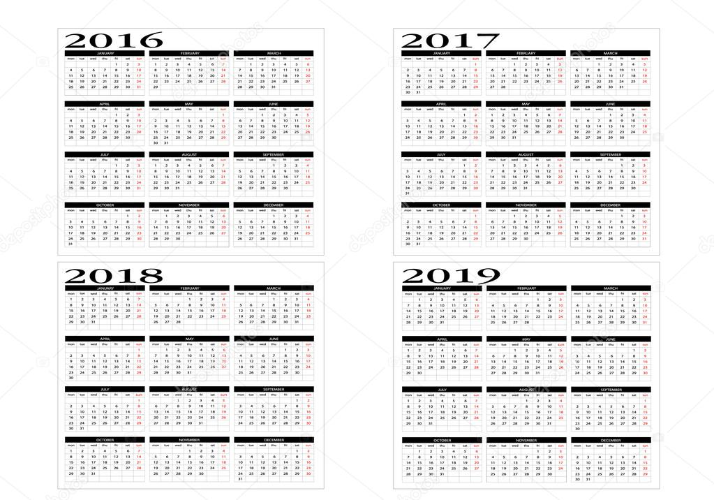 2019 2016 2019 Calendar Calendar 2016 to 2019 — Stock Vector © Changered #81172426
