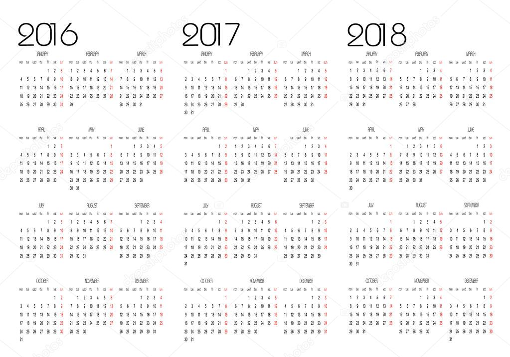 kalendar stock 2014 Calendar 2016, 2017 and 2018 — Stock Vector © Changered #81172620 kalendar stock 2014