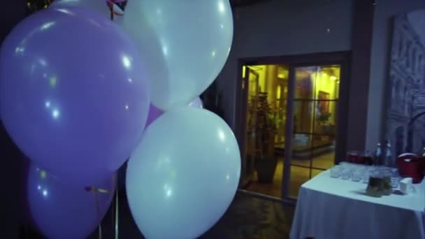 A Lot Of Balloons In The Restaurant Stock Video