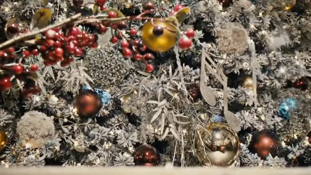 Shines and sparkles spruce branch hung with beautiful ornaments