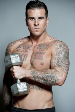 Body Builder With Free Weights