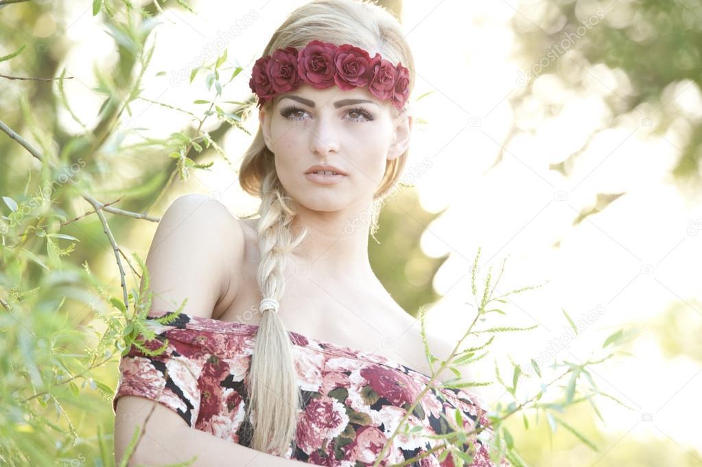 Blonde Wearing A wreath