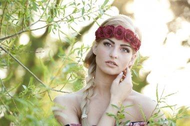 Blonde Wearing A Flower Crown
