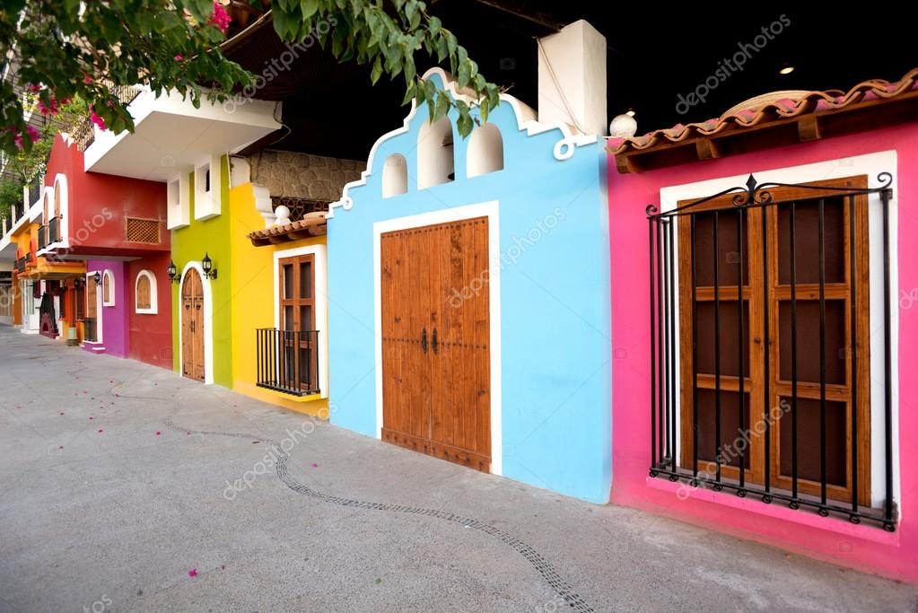Bright Facades Of Traditional Mexican Architecture Puerto Valla Stock Photo