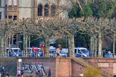 FRANKFURT, GERMANY - MARCH 18, 2015: Police cars, Demonstration