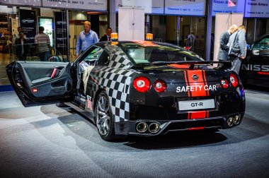 MOSCOW, RUSSIA - AUG 2012: NISSAN GT-R R35 SAFETY CAR presented as world premiere at the 16th MIAS (Moscow International Automobile Salon) on August 30, 2012 in Moscow, Russia