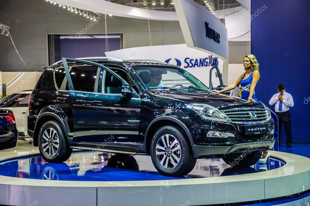 MOSCOW, RUSSIA - AUG 2012: SSANGYONG REXTON 3RD GENERATION presented as world premiere at the 16th MIAS Moscow International Automobile Salon on August 30, 2012 in Moscow, Russia