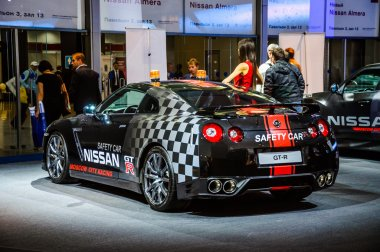 MOSCOW, RUSSIA - AUG 2012: NISSAN GT-R R35 SAFETY CAR presented as world premiere at the 16th MIAS Moscow International Automobile Salon on August 30, 2012 in Moscow, Russia
