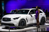MOSCOW, RUSSIA - AUG 2012: INFINITI QX70 presented as world premiere at the 16th MIAS Moscow International Automobile Salon on August 30, 2012 in Moscow, Russia