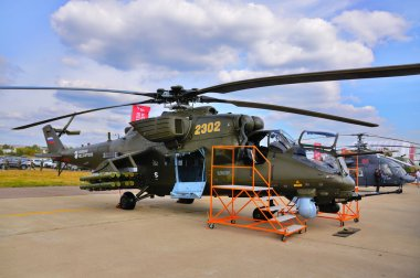 MOSCOW, RUSSIA - AUG 2015: attack helicopter Mi-24 Hind presente