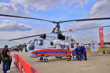 MOSCOW, RUSSIA - AUG 2015: Emergency helicopter Ka-32 Helix pres