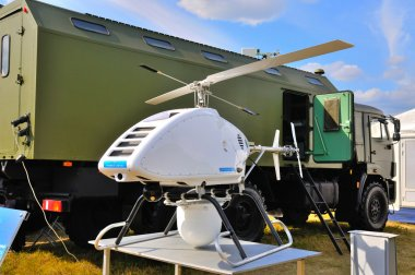 MOSCOW, RUSSIA - AUG 2015: UAV Mobile radar system presented at