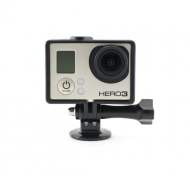 OSINNIKI, RUSSIA - DECEMBER 10, 2014: GoPro HERO3 Black Edition isolated on white background. GoPro is a brand of high-definition personal cameras, often used in extreme action video photography.