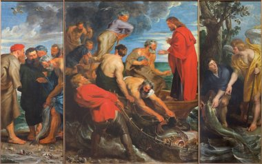 MECHELEN, BELGIUM - JUNE 14, 2014: The Miracle fishing triptych (1618) by Peter Paul Rubens in church Our Lady across de Dyle.