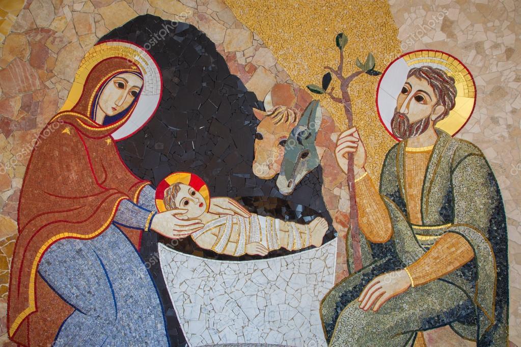 La Madonna. E molti dipinti sulla Natività da Samael. Depositphotos_58872987-stock-photo-bratislava-the-mosaic-of-nativity