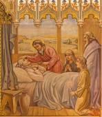 Trnava, Slovensko - 14 října 2014: Novogotické fresky středověku po scéně apoštolové ve viaticum tím Leopold Bruckner (1905-1906) v kostele svatého Mikuláše.