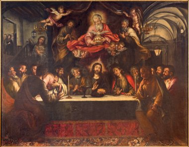 SEVILLE, SPAIN - OCTOBER 28, 2014: The paint of Last supper on the main altar by Lucas Valdes (166 - 16725) in baroque church Hospital de los Venerables Sacerdotes.