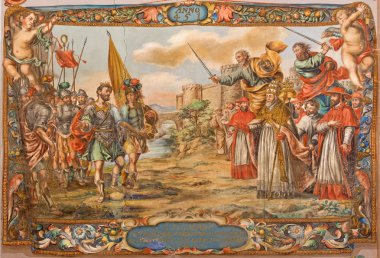 SEVILLE, SPAIN - OCTOBER 28, 2014: Fresco of scene the Act of barbarian king Atilla with pope st. Leo the great before of Rome walls in church Hospital de los Venerables by Valdez Leal (1622 - 1690)