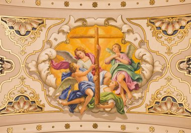 SEVILLE, SPAIN - OCTOBER 29, 2014: The fresco angels with the cross on the ceiling in church Basilica de la Macarena by Rafael Rodrguez (1949) in neobaroque style.