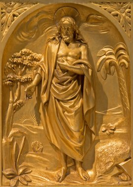 BRUSSELS, BELGIUM - JUNE 15, 2014:The relief of resurrected Christ on the side altar from 19. cent. in the church of St. Jacques at The Coudenberg.