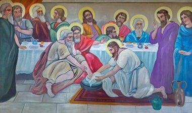 BETHLEHEM, ISRAEL - MARCH 6, 2015: The modern fresco of Feet washing at the last supper from 20.cent. in Syrian orthodox church by artist K. Veniadis (1987).