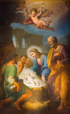 ROME, ITALY - MARCH 27, 2015: The painting of Nativity in side chapel of Basilica di Santa Maria in Trastevere by Stefano Parrocel (1696 - 1776).