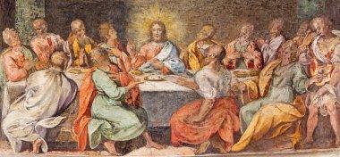 ROME, ITALY - MARCH 25, 2015: The Last supper. Fresco in church Santo Spirito in Sassia by unknown artist of 16. cent.