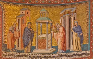 ROME, ITALY - MARCH 27, 2015: The mosaic of Presentation in the Temple in Santa Maria in Trastevere basilica by Pietro Cavallini from year 1291