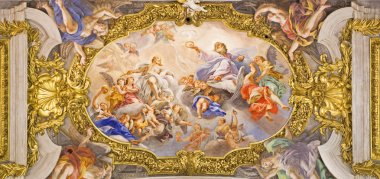 ROME, ITALY - MARCH 25, 2015:  The detail of fresco on ceiling of church Chiesa del Jesu