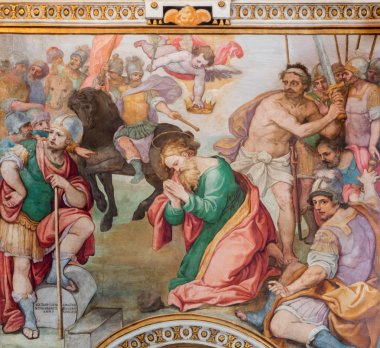ROME, ITALY - MARCH 26, 2015: The Decapitation of st. Paul freso by G. B. Ricci from 16. cent. in church Chiesa di Santa Maria in Transpontina and chapel of st. Peter and Paul.