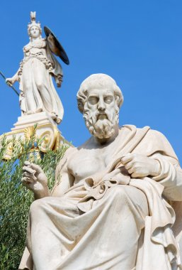 Athens - The statue of Plato in front of National Academy building by the Italian sculptor Piccarelli (from 19. cent.) and the Athena statue on the background.