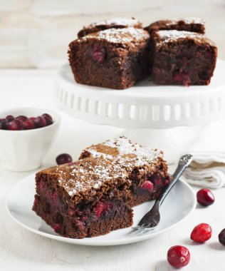 Homemade brownie with cranberries