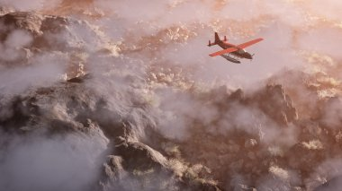 Aerial of red airplane flying over grey rock mountain landscape
